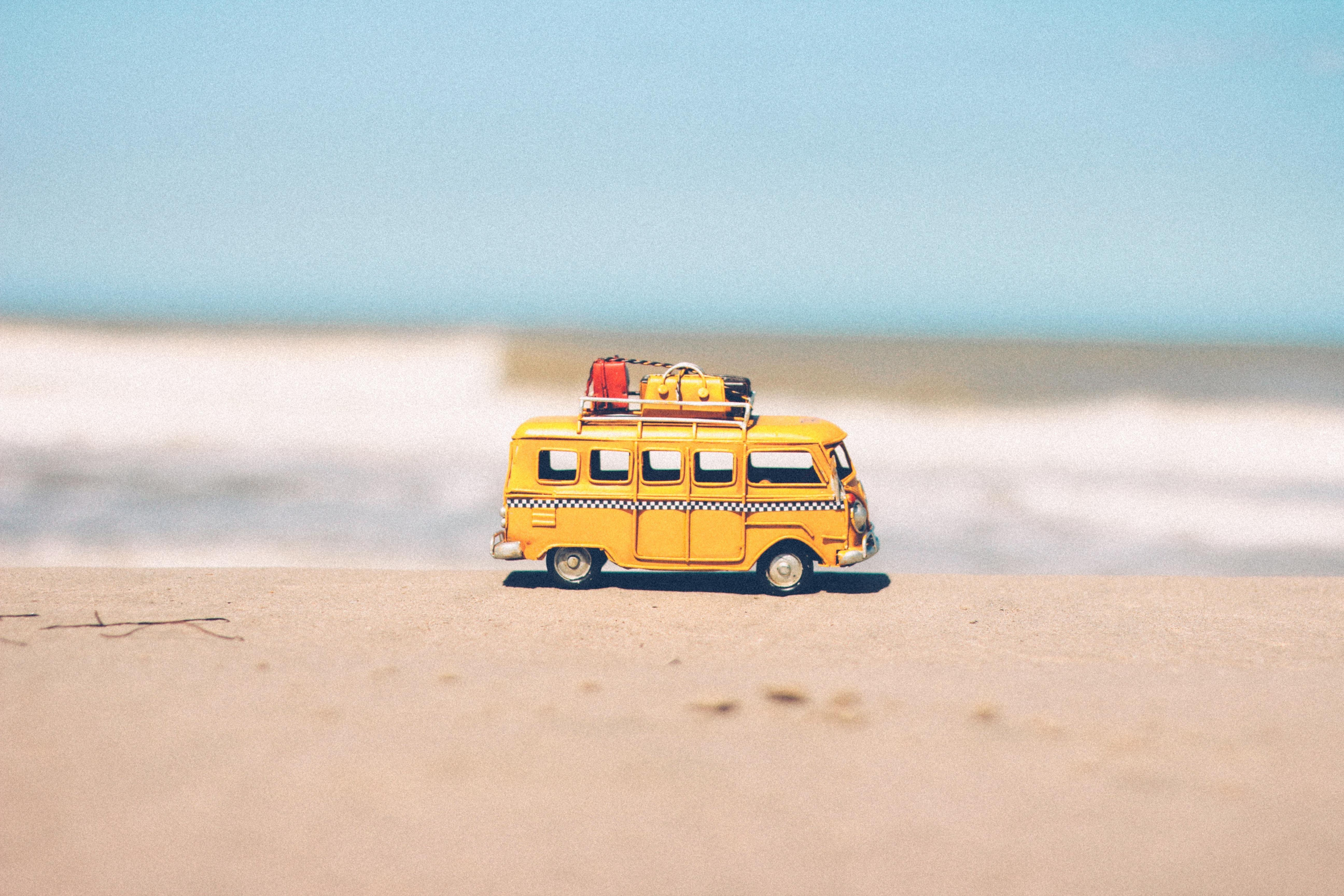 Family car at a beach.